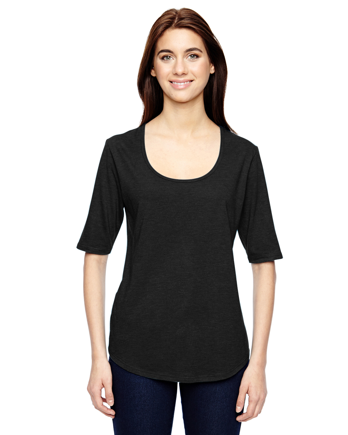 6756L Anvil Womens Tri-Blend Deep Scoop 1//2-Sleeve Tee
