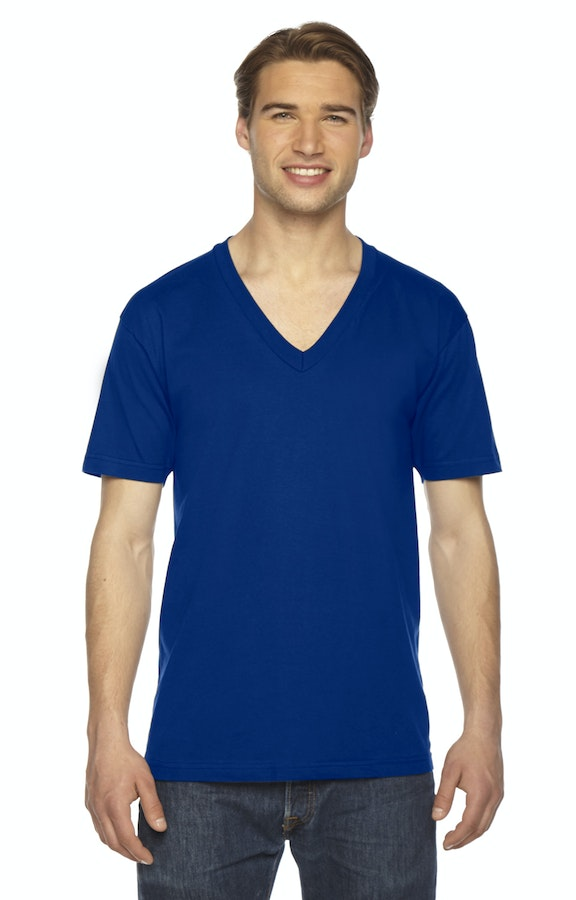 9b78092260 American Apparel 2456 Unisex USA Made Fine Jersey Short-Sleeve V-Neck T- Shirt - JiffyShirts.com