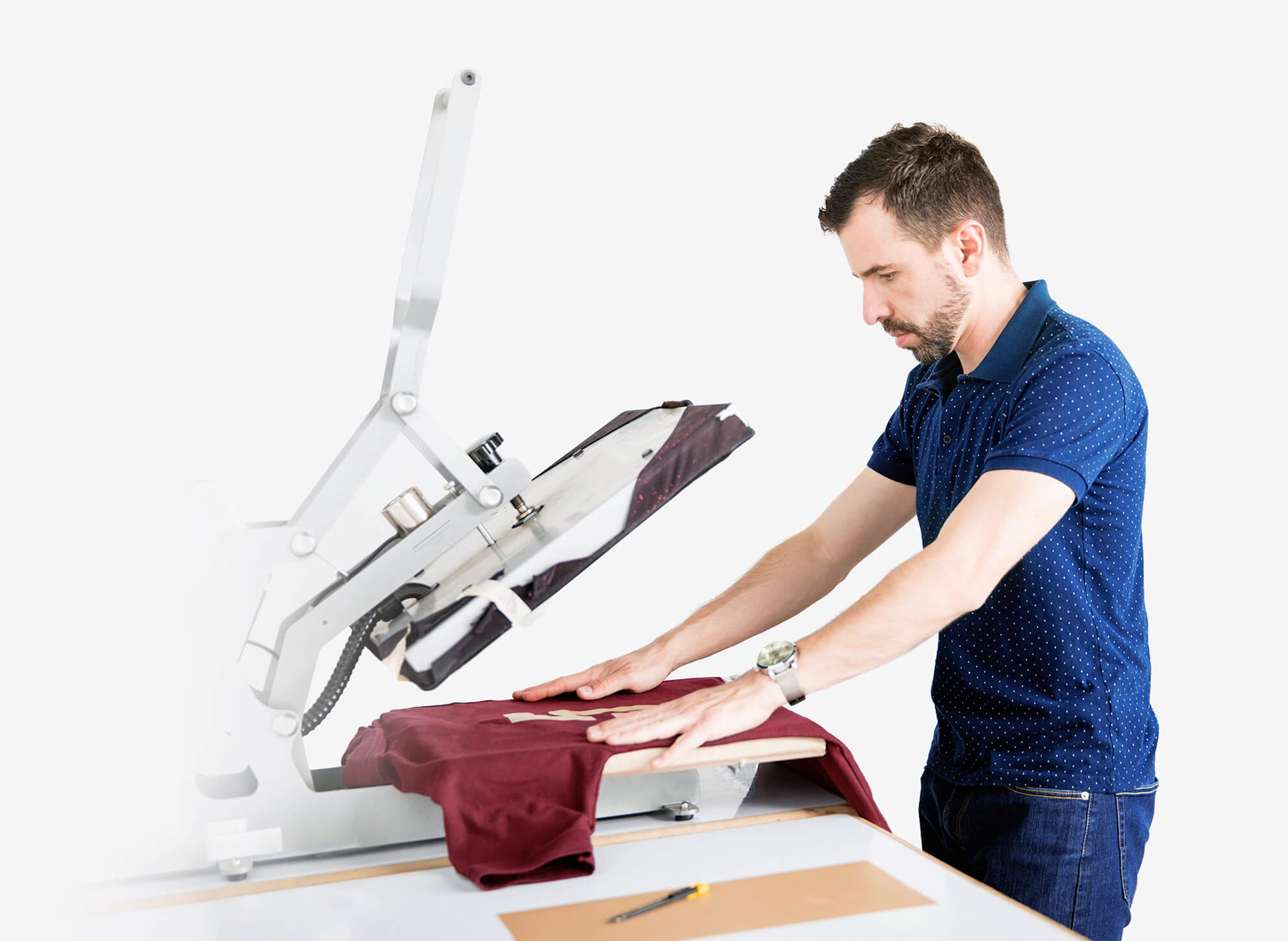 Person printing on shirts